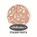 Sticker with hand drawn pasta cellentani or cavatappi isolated on white. Template for food package design