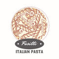 Sticker with hand drawn pasta fusilli isolated on white. Template for food package design