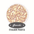 Sticker with hand drawn pattern with pasta gnocchi. Template for food package design