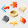 Sticker icon set for business symbols Royalty Free Stock Photo