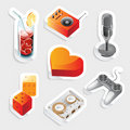 Sticker icon set for leisure Stock Image