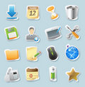 Sticker icons for signs and interface Royalty Free Stock Image