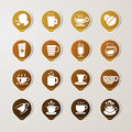 Sticker label coffee set eps this illustration contains transparency Royalty Free Stock Photography