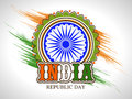 Sticker or label design for indian republic day celebration with ashoka wheel on national flag colors paint stroke background Stock Photography