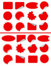 Sticker label set. Red sticky isolated on white Royalty Free Stock Photo