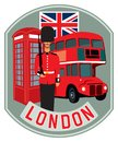 Sticker London. Symbols of Britain, a guard, a phone booth and a bus