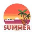 Sticker in modern flat design. The sun going down over the horizon is sunset. Summer background - sunset beach. Sea