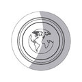 sticker monochrome silhouette circular button with earth world map Royalty Free Stock Photo