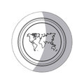 sticker monochrome silhouette circular button with world map Royalty Free Stock Photo