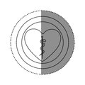 sticker of monochrome silhouette of heart inside of double circle with asclepius snake coiled