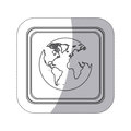 sticker monochrome silhouette square button with globe earth world map