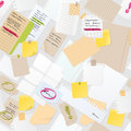 Sticker notes pined on board vector seamless pattern.