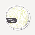 Sticker for package design with hand drawn spicy herbs. Label template