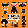 Sticker patch badge set. Count Dracula, monster, spider, bat, owl, red eye, candle. Happy Halloween. Text with pumpkin. Cute carto Royalty Free Stock Photo