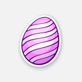 Sticker pink Easter egg with spiral pattern