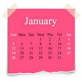 Sticker pink stick note january calendar on white background Royalty Free Stock Photos