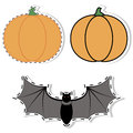 Sticker pumpkin and bat vector illustration of a Stock Images