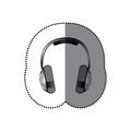 sticker realistic silver music headphones Royalty Free Stock Photo
