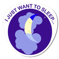 Sticker with a round image of a sleeping moon on a cloud