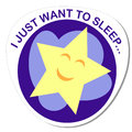Sticker with a round image of a sleeping star on a cloud