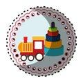 Sticker round shape with kids toys