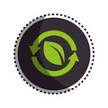 Sticker round symbol with leaf in circle formed arrows