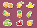 Sticker series of fruits Royalty Free Stock Photos