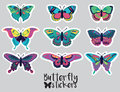 Sticker set of butterflies decorative silhouettes in cartoon style Royalty Free Stock Photo