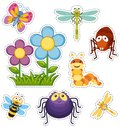 Sticker set with flowers and bugs Royalty Free Stock Photo