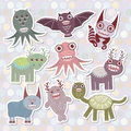 Sticker set Funny monsters collection on Polka dot background. Vector Royalty Free Stock Photo