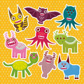 Sticker set Funny monsters collection on Polka dot orange background. Vector Royalty Free Stock Photo