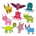Sticker set Funny monsters collection Royalty Free Stock Photo