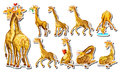 Sticker set with happy giraffe Royalty Free Stock Photo