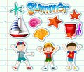 Sticker set with kids and summer items Royalty Free Stock Photo