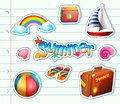Sticker set for summer items Royalty Free Stock Photo
