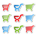Sticker shopping cart trolley, item or button Royalty Free Stock Images
