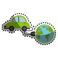 Sticker silhouette color with map world and electric eco car