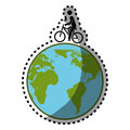 Sticker silhouette color with map world and man in eco bike