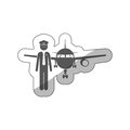 Sticker silhouette pilot with aeroplane Royalty Free Stock Photo