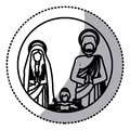 Sticker silhouette sacred family with baby jesus Royalty Free Stock Photo