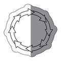 sticker silhouette set collection circular arrow icon Royalty Free Stock Photo