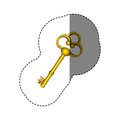 sticker with silhouette of vintage gold key Royalty Free Stock Photo