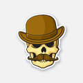 Sticker skull of a gentleman with a mustache in bowler hat