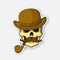 Sticker skull of a gentleman with a mustache and smoking pipe in bowler hat