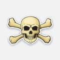 Sticker skull Jolly Roger with crossbones behind