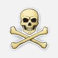 Sticker skull Jolly Roger with crossbones at the bottom