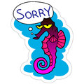 Sticker Sorry. Vector illustration. Sea Horse Royalty Free Stock Photo