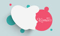 Sticker tag or label design for happy women s day celebration with white silhouette of girl face on blue background Stock Photo