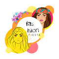 Sticker tag or label for fashion fiesta with young fashionable girls in retro on flowers and abstract design background Royalty Free Stock Images