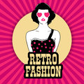 Sticker tag or label for retro fashion with young girl in heart shaped sunglasses on vintage rays pink background Royalty Free Stock Images